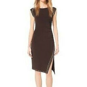 MICHAEL KORS Studded Asymmetrical Chocolate Dress